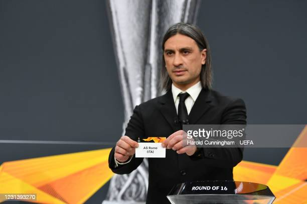 Special guest Hakan Yakin draws out the name of AS Roma during the UEFA Europa League 2020/21 Round of 16 draw at the UEFA Headquarters, the House of...