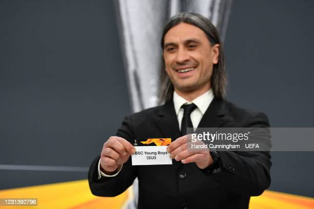Special guest Hakan Yakin draws out the name of BSC Young Boys during the UEFA Europa League 2020/21 Round of 16 draw at the UEFA Headquarters, the...