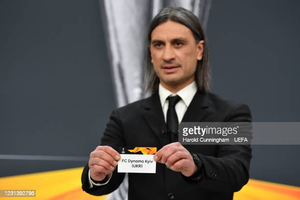 Special guest Hakan Yakin draws out the name of FC Dynamo Kyiv during the UEFA Europa League 2020/21 Round of 16 draw at the UEFA Headquarters, the...
