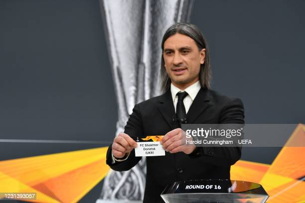 Special guest Hakan Yakin draws out the name of FC Shakhtar Donetsk during the UEFA Europa League 2020/21 Round of 16 draw at the UEFA Headquarters,...