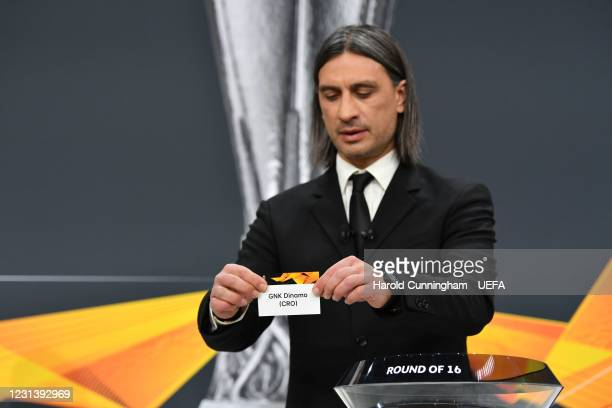 Special guest Hakan Yakin draws out the name of GNK Dinamo during the UEFA Europa League 2020/21 Round of 16 draw at the UEFA Headquarters, the House...