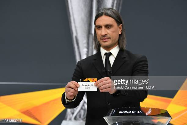 Special guest Hakan Yakin draws out the name of Granada CF during the UEFA Europa League 2020/21 Round of 16 draw at the UEFA Headquarters, the House...