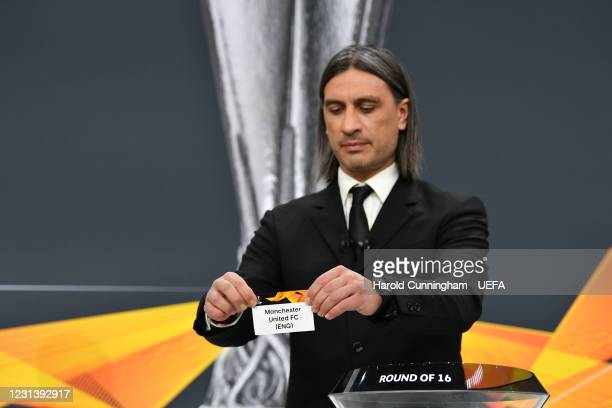 Special guest Hakan Yakin draws out the name of Manchester United FC during the UEFA Europa League 2020/21 Round of 16 draw at the UEFA Headquarters,...