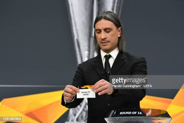 Special guest Hakan Yakin draws out the name of Molde FK during the UEFA Europa League 2020/21 Round of 16 draw at the UEFA Headquarters, the House...