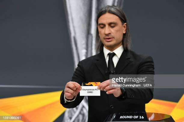 Special guest Hakan Yakin draws out the name of Olympiacos FC during the UEFA Europa League 2020/21 Round of 16 draw at the UEFA Headquarters, the...