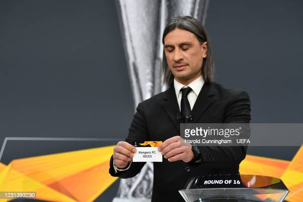 Special guest Hakan Yakin draws out the name of Rangers FC during the UEFA Europa League 2020/21 Round of 16 draw at the UEFA Headquarters, the House...
