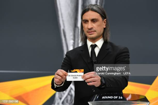 Special guest Hakan Yakin draws out the name of SK Slavia Praha during the UEFA Europa League 2020/21 Round of 16 draw at the UEFA Headquarters, the...