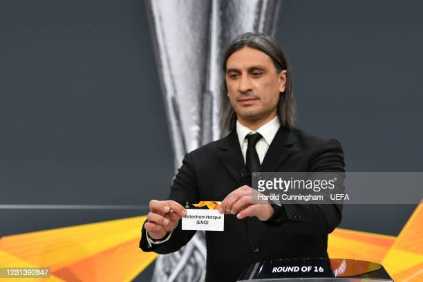 Special guest Hakan Yakin draws out the name of Tottenham Hotspur during the UEFA Europa League 2020/21 Round of 16 draw at the UEFA Headquarters,...
