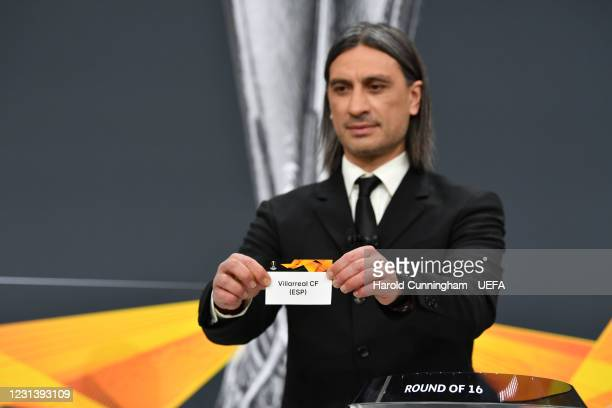 Special guest Hakan Yakin draws out the name of Villarreal CF during the UEFA Europa League 2020/21 Round of 16 draw at the UEFA Headquarters, the...
