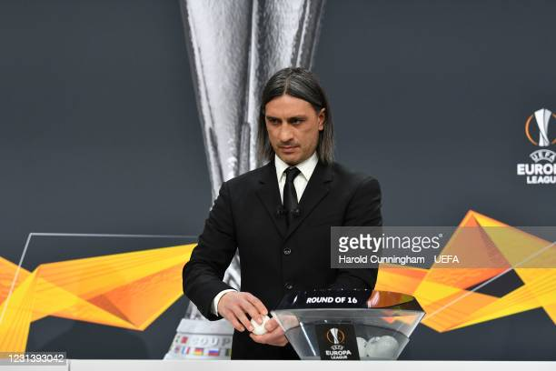 Special guest Hakan Yakin during the UEFA Europa League 2020/21 Round of 16 draw at the UEFA Headquarters, the House of European Football, on...