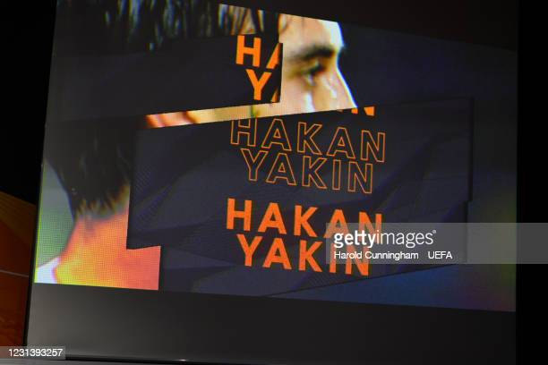 Special guest Hakan Yakin is introduced during the UEFA Europa League 2020/21 Round of 16 draw at the UEFA Headquarters, the House of European...