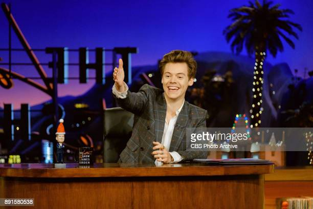 Special guest Harry Styles sits in for James Corden during The Late Late Show with James Corden Tuesday December 12 2017 On The CBS Television Network