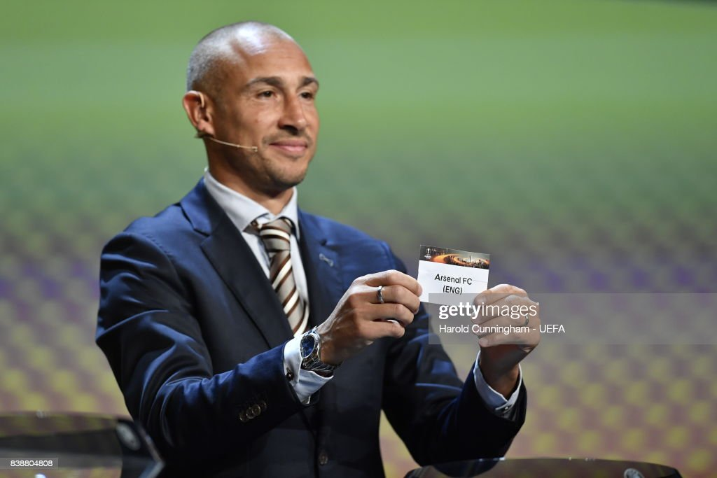 Special guest Henrik Larsson draws out the name of Arsenal during the UEFA Europa League 2017/18 Group Stage Draw part of the UEFA ECF Season Kick Off 2017/18 on August 25, 2017 in Monaco, Monaco.