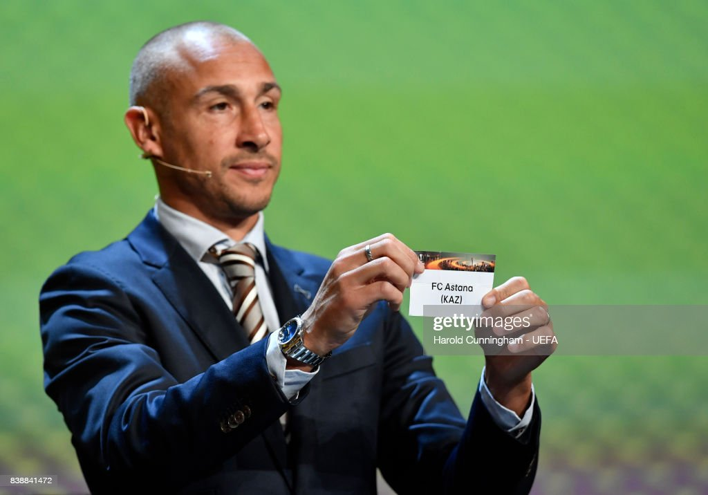 Special guest Henrik Larsson draws out the name of Astana during the UEFA Europa League 2017/18 Group Stage Draw part of the UEFA ECF Season Kick Off 2017/18 on August 25, 2017 in Monaco, Monaco.