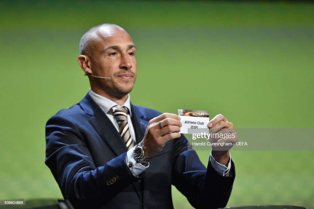 Special guest Henrik Larsson draws out the name of Athletic Club during the UEFA Europa League 2017/18 Group Stage Draw part of the UEFA ECF Season Kick Off 2017/18 on August 25, 2017 in Monaco, Monaco.