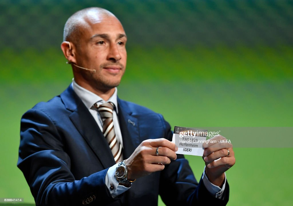 Special guest Henrik Larsson draws out the name of Hoffenheim during the UEFA Europa League 2017/18 Group Stage Draw part of the UEFA ECF Season Kick Off 2017/18 on August 25, 2017 in Monaco, Monaco.