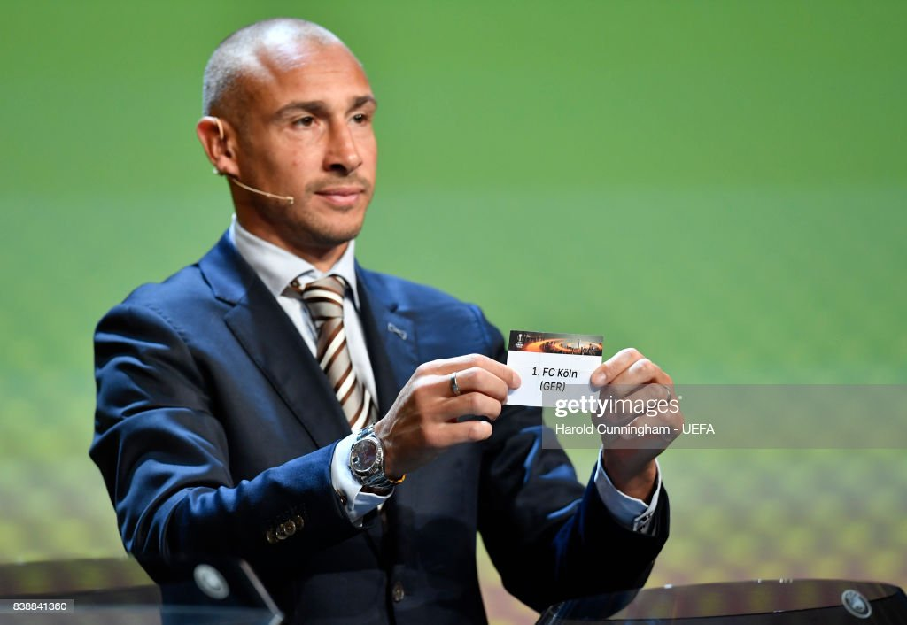 Special guest Henrik Larsson draws out the name of Koln during the UEFA Europa League 2017/18 Group Stage Draw part of the UEFA ECF Season Kick Off 2017/18 on August 25, 2017 in Monaco, Monaco.