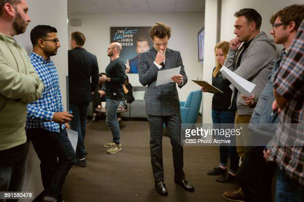 Special guest host Harry Styles reviews the monologue during 'The Late Late Show with James Corden' Tuesday December 12 2017 On The CBS Television...