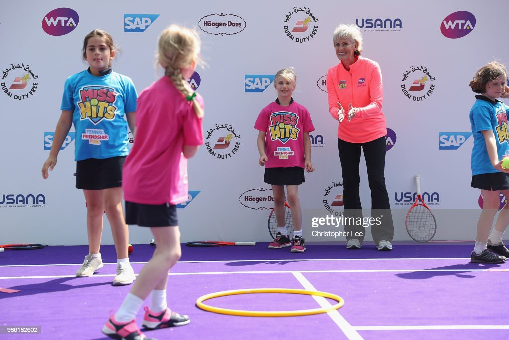 Special guest, Judy Murray, OBE, attends the Women's Tennis Association (WTA) Tennis on the Thames festival for a Miss Hits demonstration with local girls from Wimbledon High School during the WTA Tennis On The Thames in Bernie Spain Gardens on June 28, 2018 in London, England.