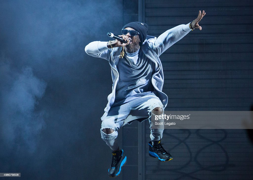 Special guest Lil Wayne performs during the Big Sean concert in his hometown of Detroit at Joe Louis Arena on November 6, 2015 in Detroit, Michigan.