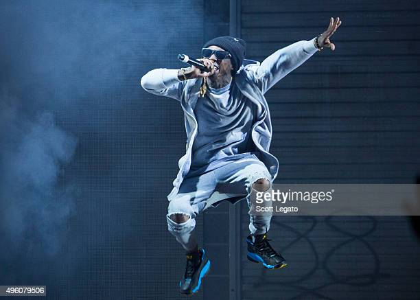 Special guest Lil Wayne performs during the Big Sean concert in his hometown of Detroit at Joe Louis Arena on November 6 2015 in Detroit Michigan