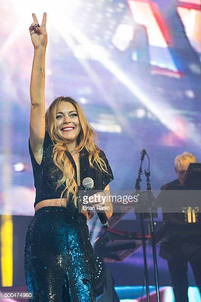 Special Guest Lindsay Lohan performs with Duran Duran at The O2 Arena on December 8 2015 in London England