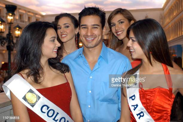 Special Guest Mario Lopez With The Contestants during CarnaVe 2003 a Celebration of Latin Music and Culture Featuring The Mesoamerica International...