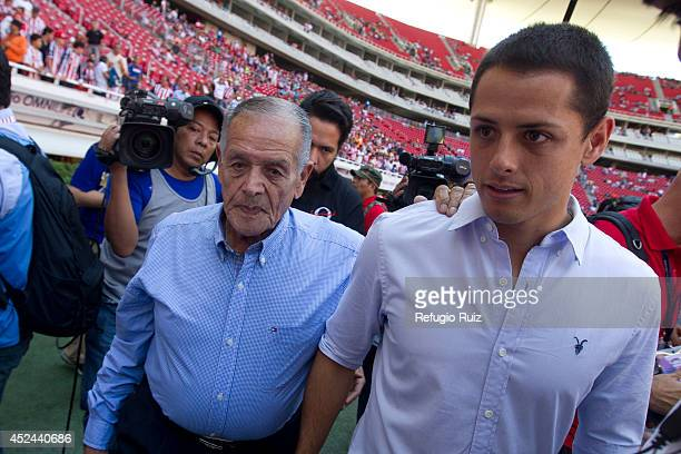 Special guest of Manchester United Javier Hernandez prior a match between Chivas and Jaguares as part of 1st round Apertura 2014 Liga MX at Omnilife...