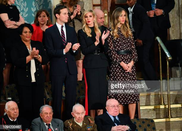 Special guest of the President Alice Johnson is seen alongside Trump family members from Jared Kushner Ivanka Trump and Lara Trump ahead of US...
