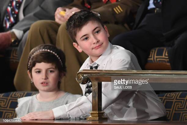 Special guest sixth grade student Joshua Trump attends the State of the Union address at the US Capitol in Washington DC on February 5 2019