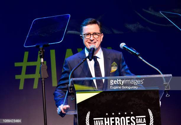 Special guest Stephen Colbert speaks on stage during IAVA 12th Annual Heroes Gala at the Classic Car Club Manhattan on November 8 2018 in New York...