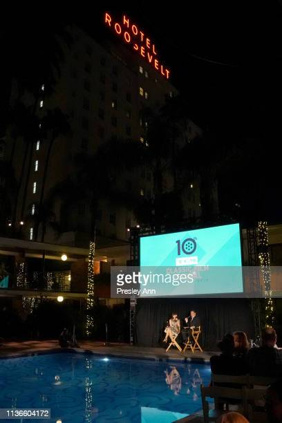 Special Guests Dennis Miller and Illeana Douglas speak at the poolside screening of 'The Opposite Sex' at the 2019 TCM 10th Annual Classic Film...