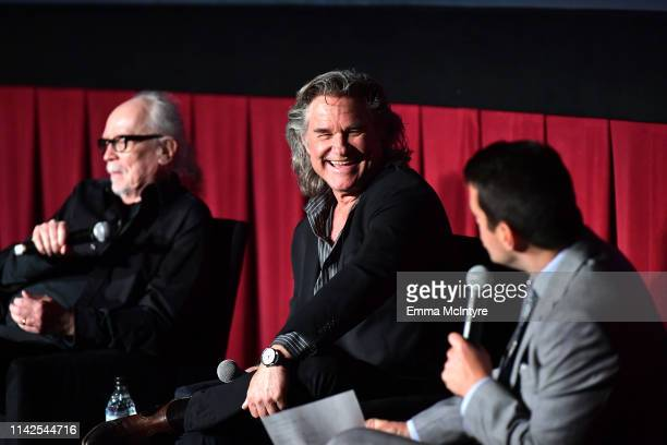 Special Guests John Carpenter Kurt Russell and TCM Host Dave Karger speak onstage at the screening of 'Escape from New York' at the 2019 TCM 10th...