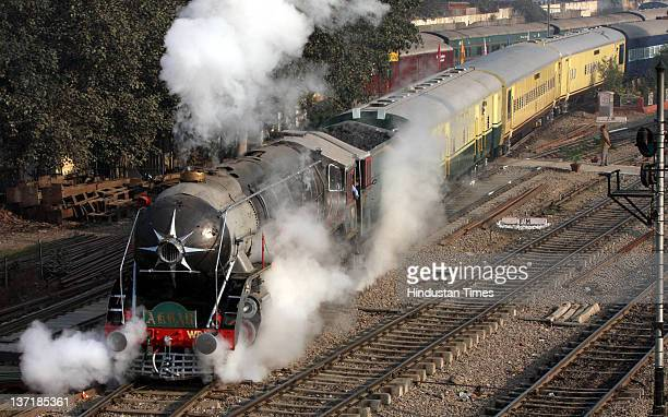 A special Heritage train powered by the steam engine Akbar leaves from from Delhi Cant station to Alwar on January 14 2012 in New Delhi India A...