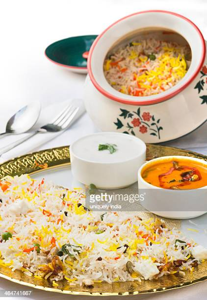 Special Hyderabad Biryani served in a plate