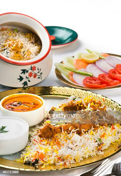 Special Hyderabadi Chicken Biryani served in a plate