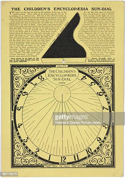 A special insert from The Childrens Encyclopaedia showing a cardboard sundial which is designed to be cut out and assembled The cutout also contains...