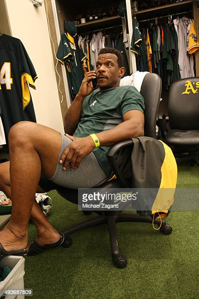 Special Instructor Rickey Henderson of the Oakland Athletics relaxes in the clubhouse prior to the game against the Seattle Mariners at Oco Coliseum...
