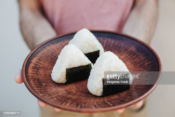 special japanese food - rice ball stock pictures, royalty-free photos & images