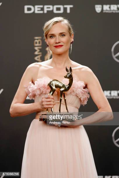 'Special Jury' Award Winner Diane Kruger poses at the Bambi Awards 2017 winners board at Stage Theater on November 16 2017 in Berlin Germany