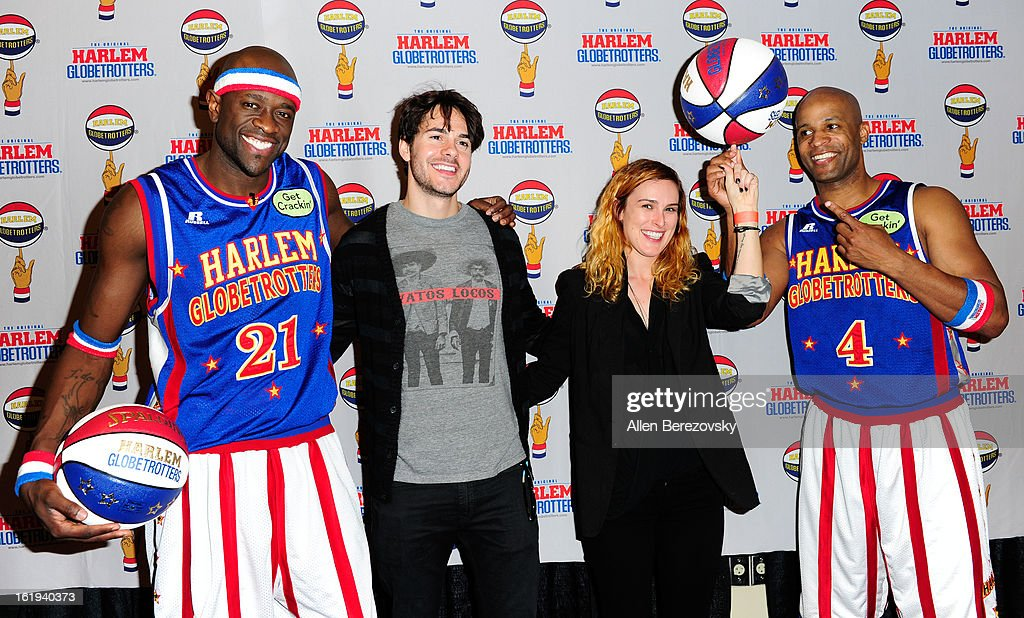 Special K Daley, actor Jayson Blair, actress Rumer Willis and Flighttime Lang attend the Harlem Globetrotters 'You Write The Rules' 2013 tour game at Staples Center on February 17, 2013 in Los Angeles, California.