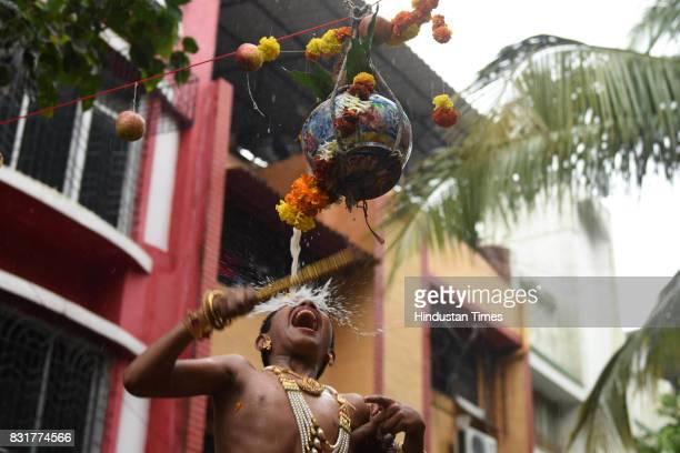 Special kids of Asmita Special School celebrate Dahi Handi ahead of 'Janmashtami' which marks the birth of Lord Krishna at Kopar Khairane on August...