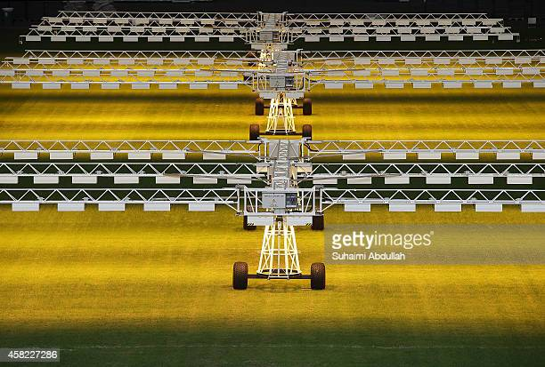 Special lights which act as sunlight costing at 15 million dollars are seen installed at intervals inside the National Stadium at Singapore Sports...