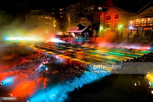 special lightup of yubatake, kusatsu onsen - gunma prefecture stock photos and pictures