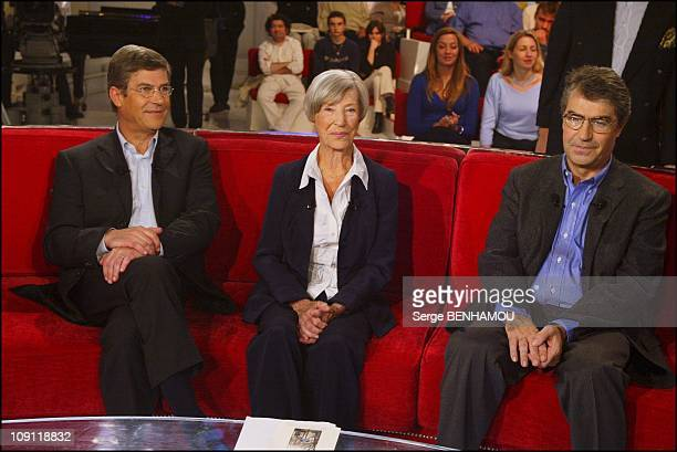 Special Louis De Funes On Vivement Dimanche On November 26 2003 In Paris France Olivier De Funes With His Mother Jeanne And His Brother Patrick