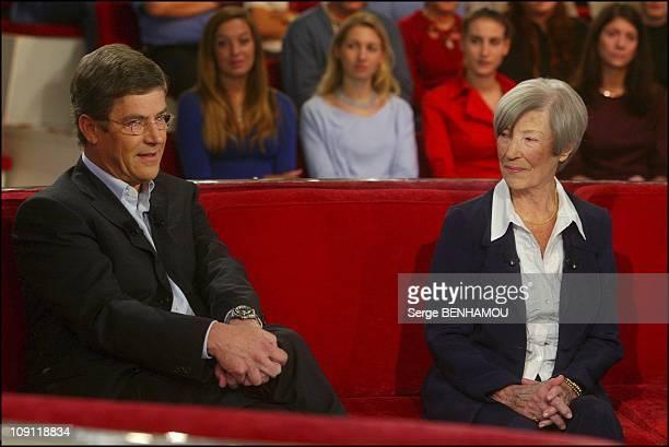 Special Louis De Funes On Vivement Dimanche On November 26 2003 In Paris France Olivier De Funes And His Mother Jeanne