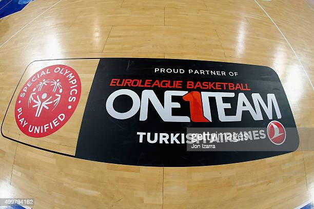Special Olimpics One Team logo during the Turkish Airlines Euroleague Basketball Regular Season Round 8 game between Laboral Kutxa Vitoria Gasteiz v...