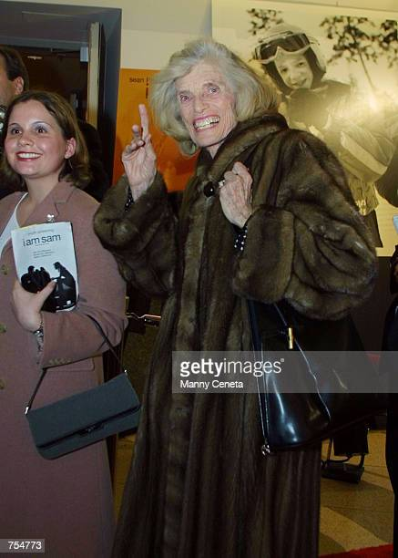 Special Olympics Founder Eunice Kennedy Shriver arrives at the Special Olympics benefit premiere of movie i am sam January 22 2002 in Washington DC i...