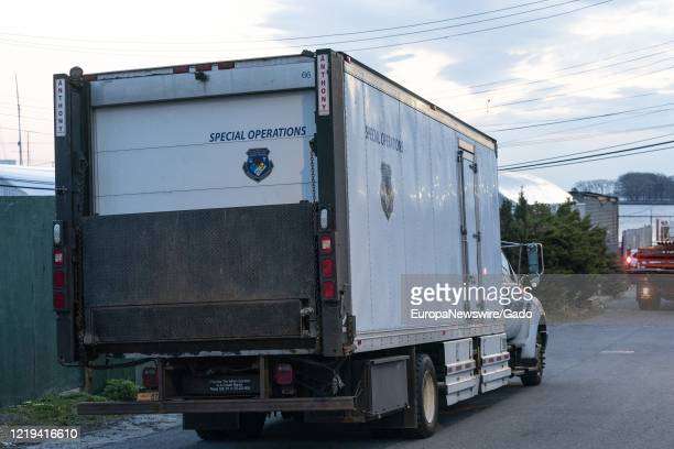 Special Operation Medical Examiner refrigerated truck with bodies of COVID19 coronavirus dead New York City New York April 16 2020