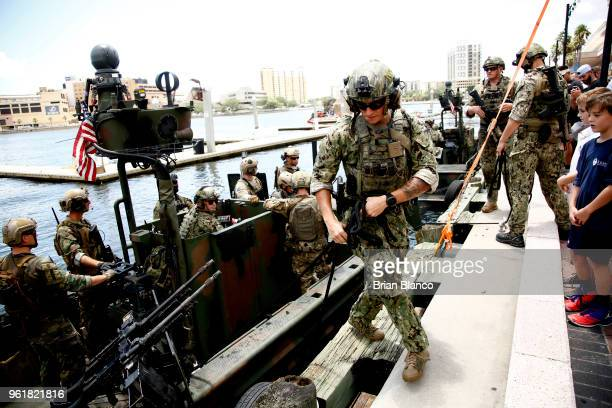 Special operators return to the shore in a Special Operations Craft Riverine after participating in an International Special Operations Forces...